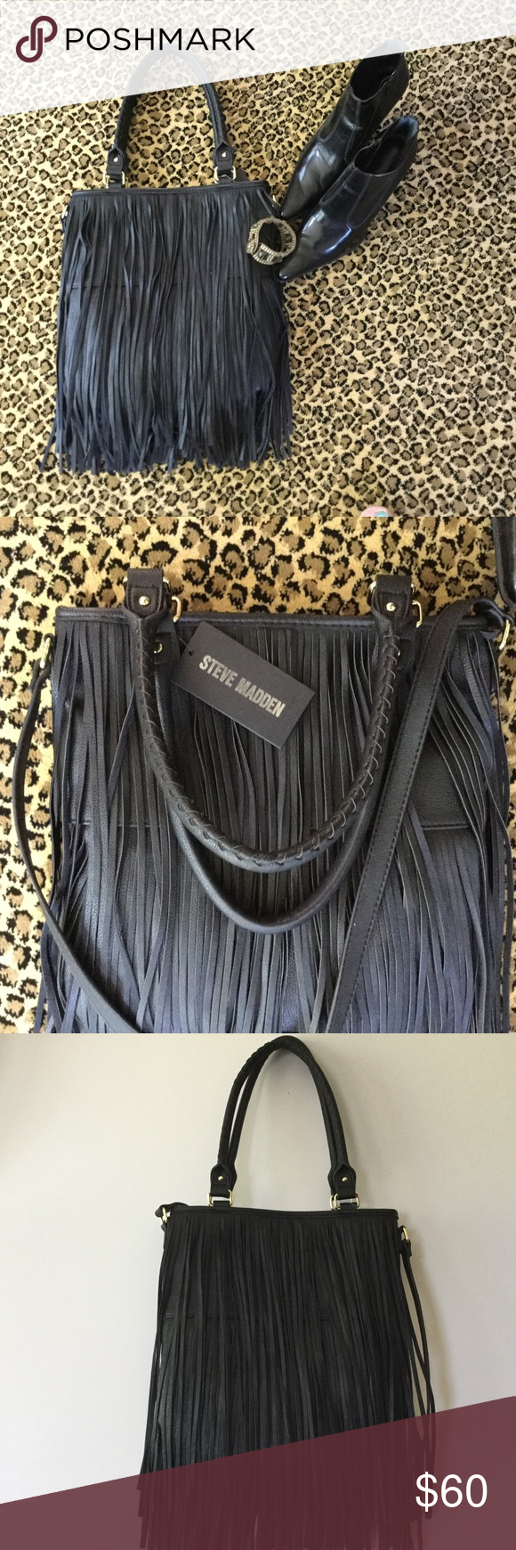 Steve Madden Tote with Fringe Steve Madden Cross Body Tote with Fringe- 11x13 without Fringe-1 Inside zipper pocket, 2 inside slip pockets- Dual Handle Steve Madden Bags