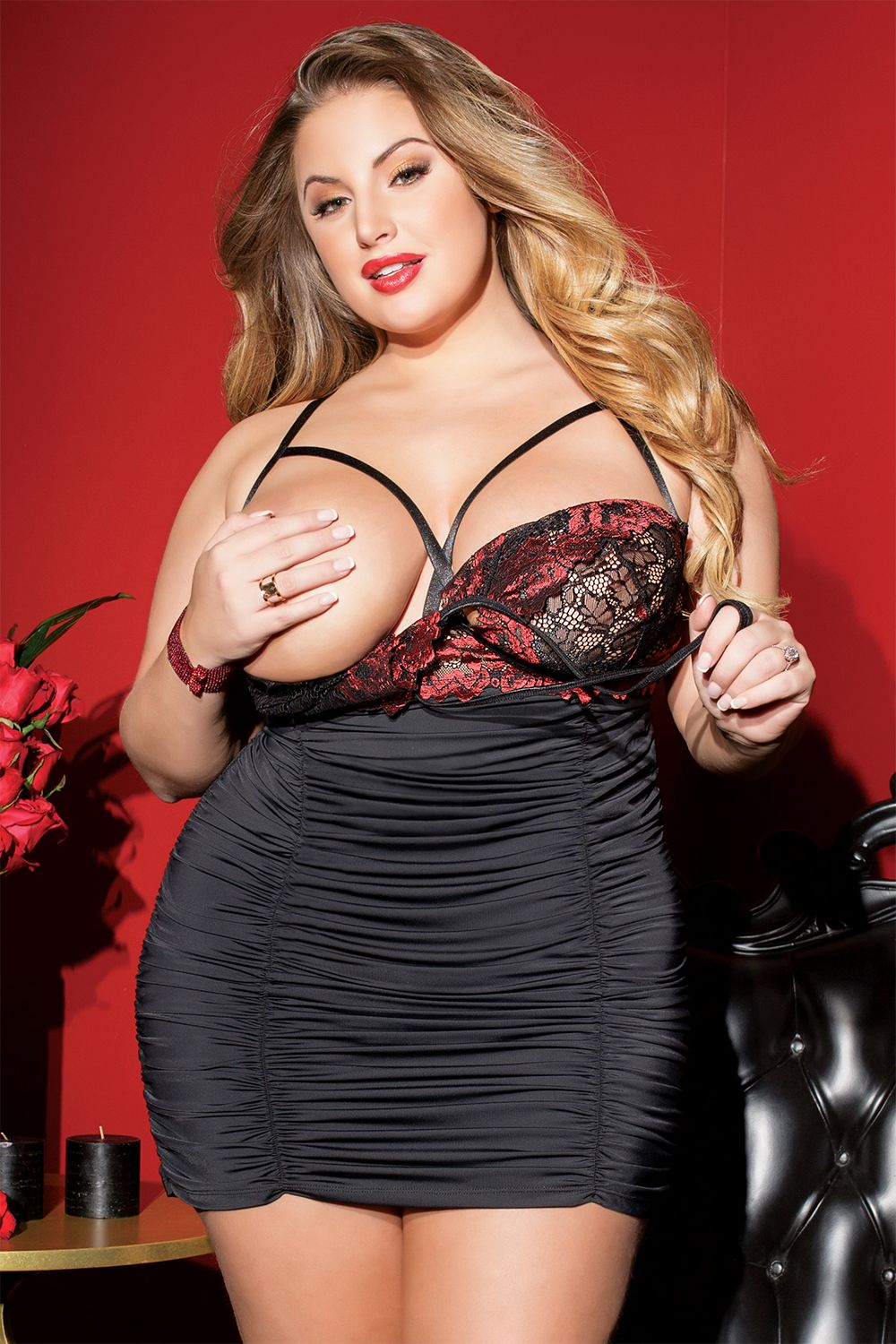 8e92af2ba8a43 Sexy Plus Size Lingerie Midnight Love Chemise. Rose print scalloped stretch  lace halter tie chemise with convertible underwire cups