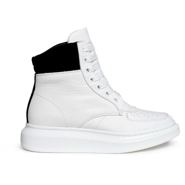 Alexander Mcqueen Chunky outsole suede collar leather high top... (975 CAD) ❤ liked on Polyvore featuring shoes, sneakers, white, leather high tops, white hi top sneakers, high top sneakers, high top shoes and hi tops