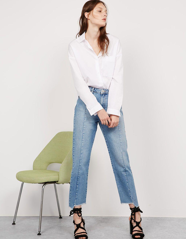 326e81adafee Jeans straight leg bajo asimétrico - Jeans - Bershka España