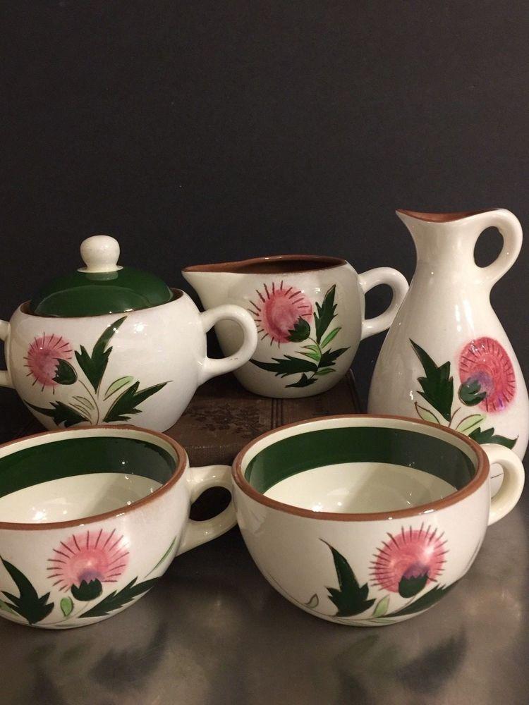 Stangl Pottery Thistle Cups Sugar Creamer Cruet Mid Century Dinnerware Made USA & Stangl Pottery Thistle Cups Sugar Creamer Cruet Mid Century ...