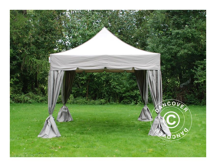 Tente Pliante Chapiteau Pliable Tonnelle Pliante Barnum Pliant Flextents Pro Peaked 4x4m Latte Avec 4 Rideaux Decoratifs Dancover Gazebo Hot Tub Gazebo Pop Up