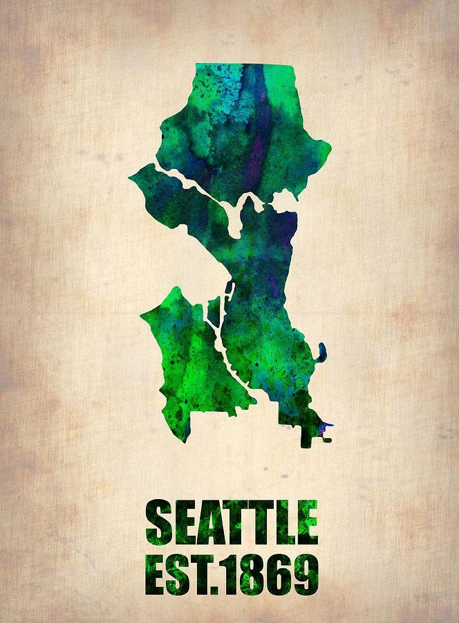 Seattle Watercolor Map By Naxart Studio Watercolor Map Map Canvas Art Map Canvas