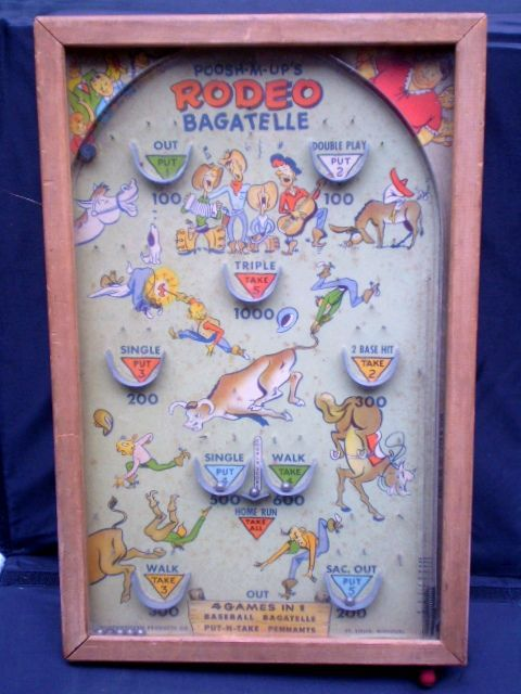 Poosh M Up Quot Rodeo Quot Pinball Game 1940 S Retro Toy