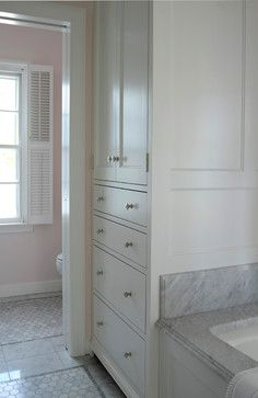 Built-in linen closet, keep the clutter behind closed doors