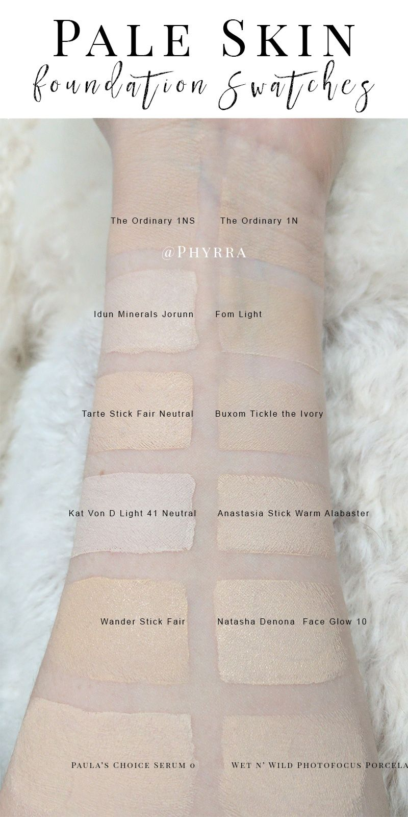 The Ordinary Serum Foundation Pale Foundation Swatches