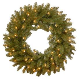 "Illuminate your entranceway with this pre-lit faux fir wreath, showcasing clear lights for a soft glow that complements every style.  Product: WreathConstruction Material: PVC and metalColor: GreenFeatures:  Pre-lit with 50 clear lightsFlame-resistantSpare bulbs and fuses - included Dimensions: 24"" Diameter"