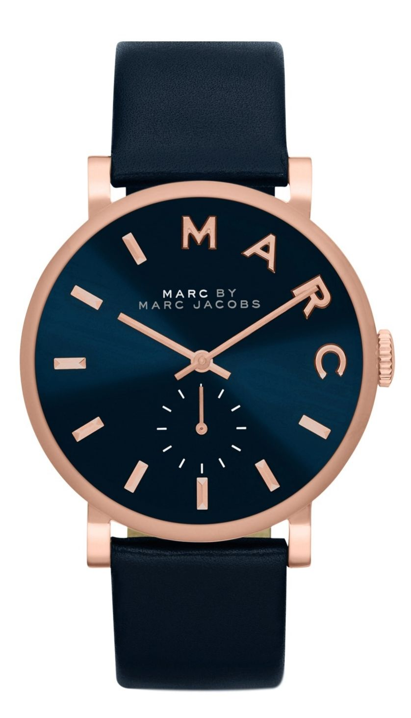 The modern, clean elegance of this navy and rose gold Marc Jacobs watch  makes it versatile enough to wear everyday. c5d01a3ea8