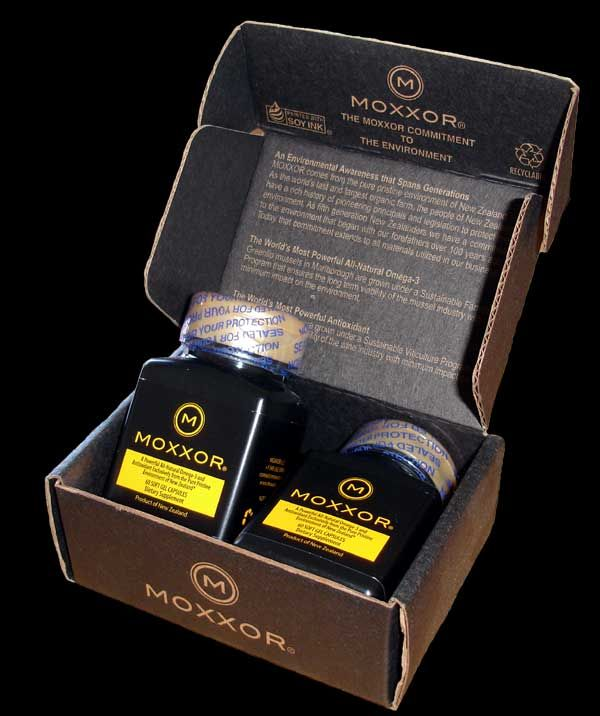 Moxxor comes in a small black capsule that is made from bovine gelatin.  The box it comes in is made from recycled material.  Everything about Moxxor is natural.