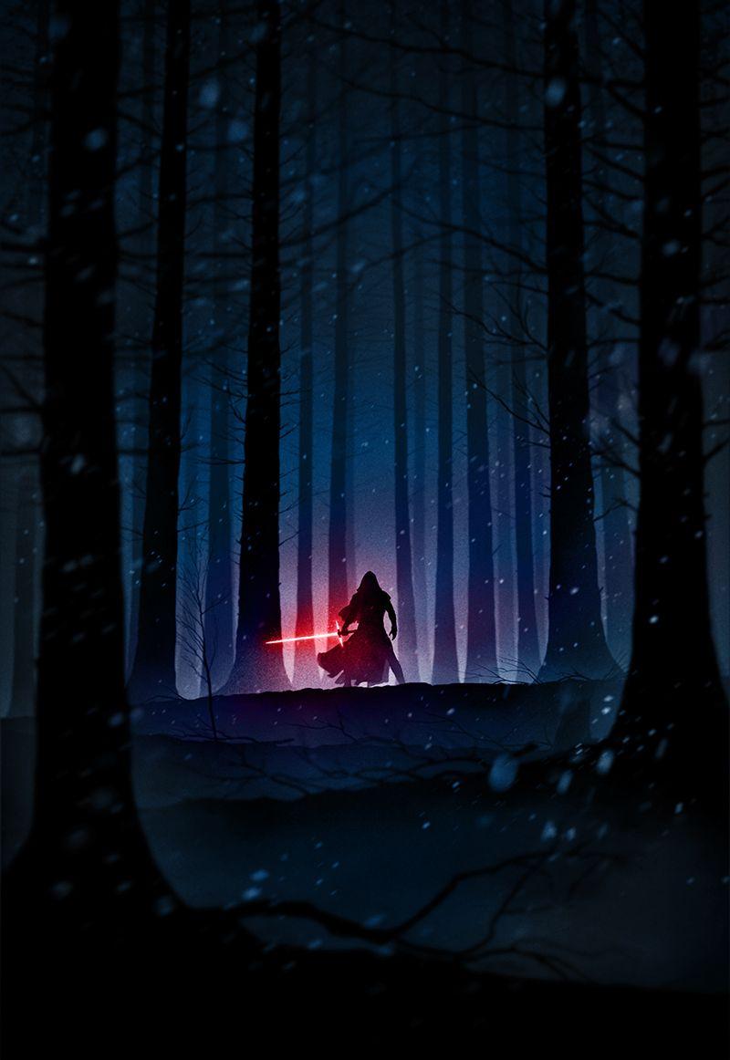 Kylo Ren Star Wars The Force Awakens Noir Star Wars Tribute Star Wars Illustration Star Wars Poster