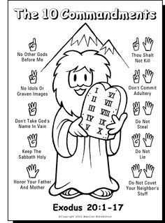 10 commandments color sheet bible story crafts pinte