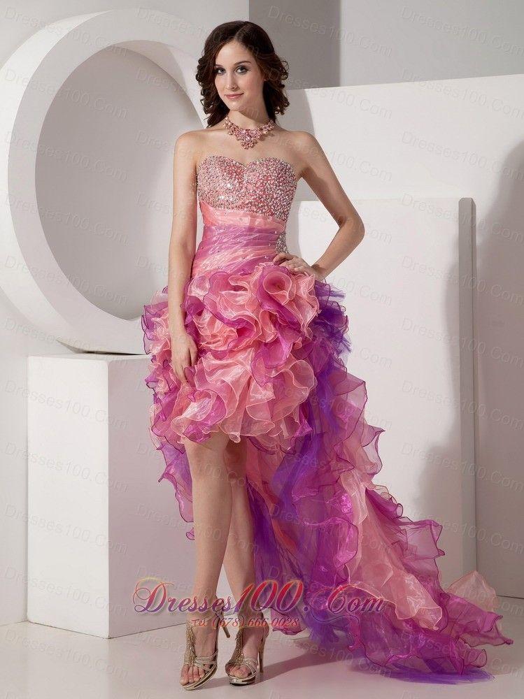 Beautiful Cocktail Dress Column Sweetheart High-low Organza Beading ...