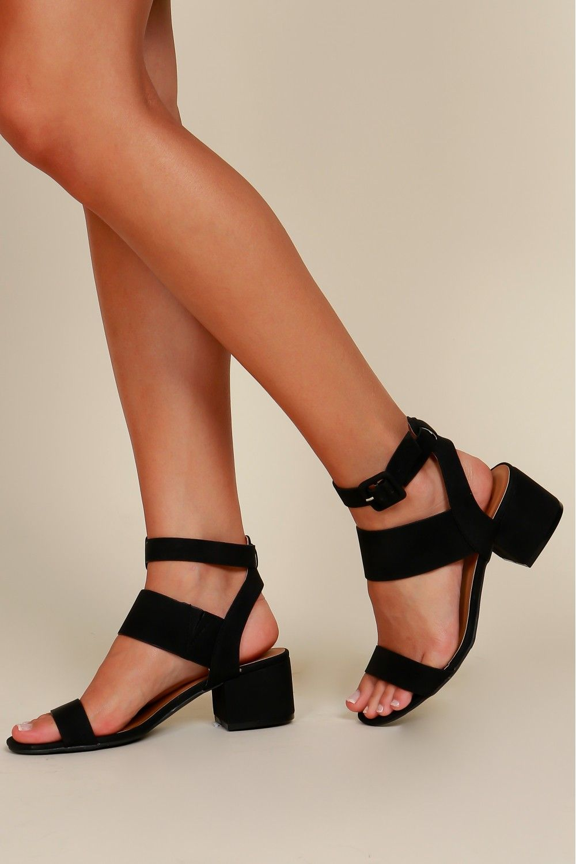 Casual Stroll Strappy Heel Black