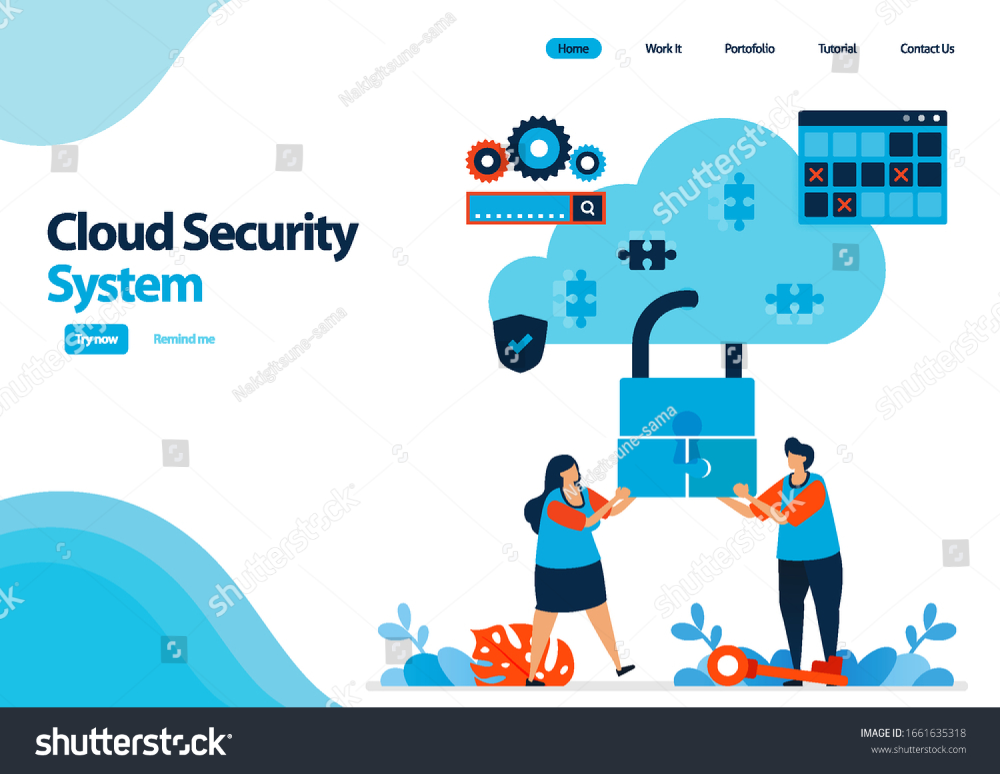 Landing Page Template Of Cloud Computing Security System Cooperation To Improve Security Of Access To Hosting Illu Cloud Computing Landing Page Page Template