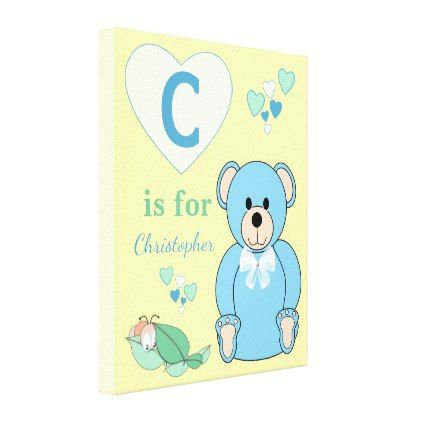 Cute Teddy Bear Nursery wall art canvas yellow - #nurseryart #nursey ...