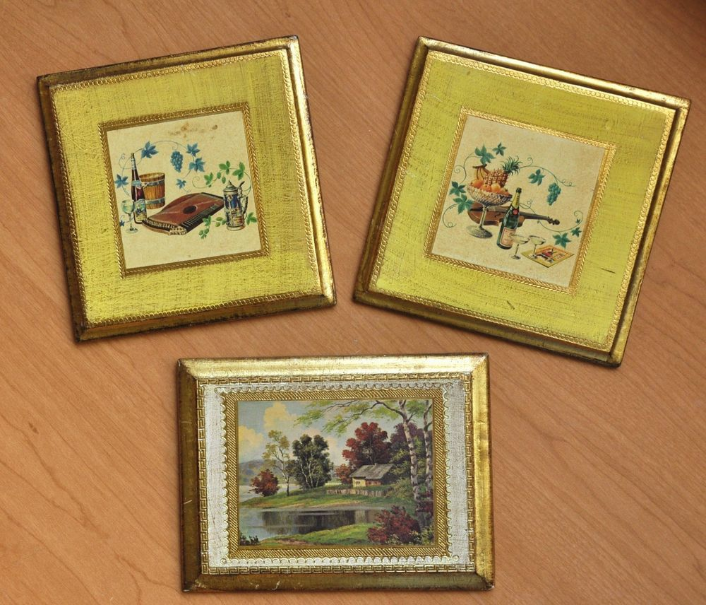 3 Vintage Florentine Tole Wood Gold Gilt Plaques Wall Decor Italy ...