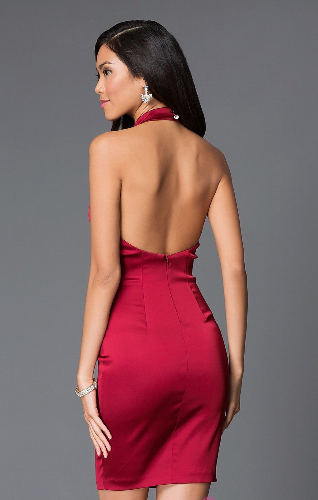 Cool awesome burgundy red satin short halter backless semi formal