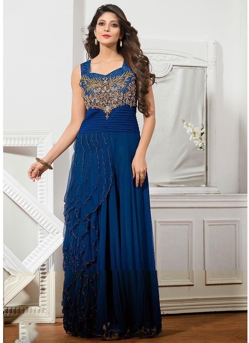 856742e21f31 Blue Net Long Gown  party wear  trendy wears  online shopping  chennaistore