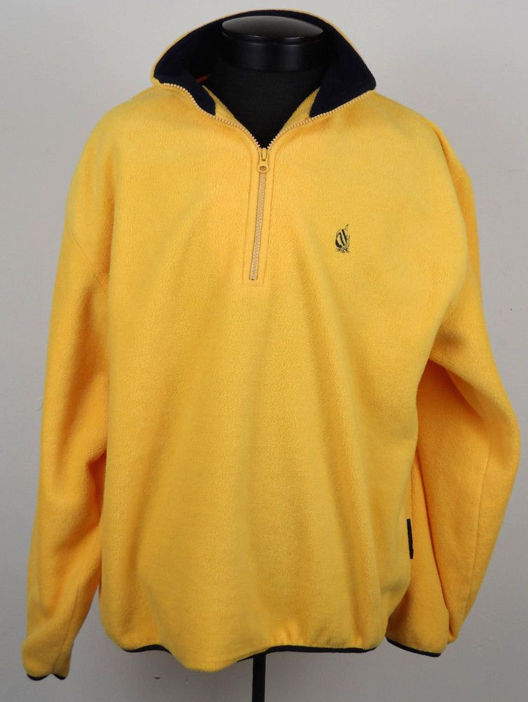 Nautica 1/4 Zip Fleece Pullover Yellow Mens Medium M Navy Blue USA ...