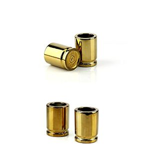 $10.98 - 50 caliber shot glasses!  Knock back some shots with these cleverly designed 2-oz. ceramic glasses which come in a set of 2 with gold-colored glossy finish. Get them now! #amazon #betterfood #youarearrested