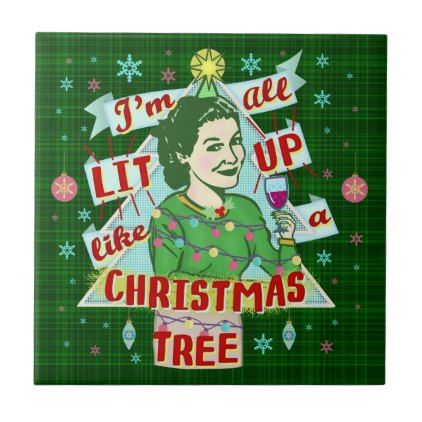 Funny Christmas Retro Drinking Humor Woman Lit Up Tile - merry