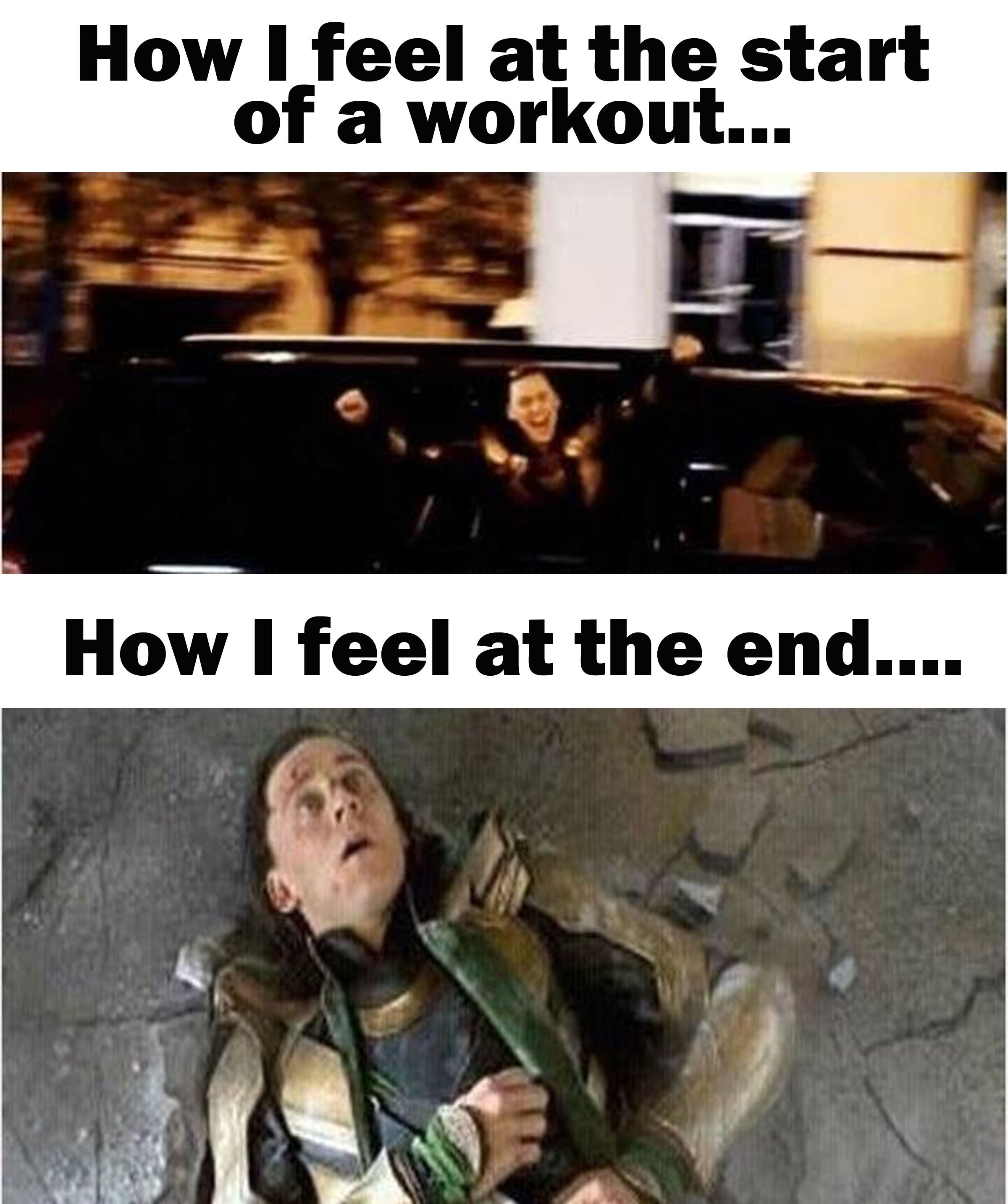 Feelings Before And After Exercise Featuring Tom Hiddleston As Loki Workout Memes Funny Gym Memes Funny Fitness Motivation Quotes