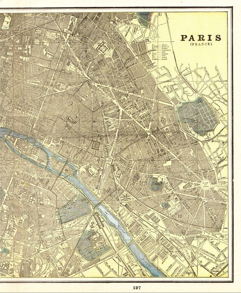 1892 Antique PARIS FRANCE Map 1800s Map of Paris City Map Gallery ...