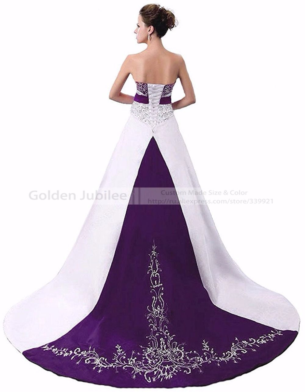 2016 Elegant Embroidery Vintage Floor Length Gown Purple Black Red Satin Beaded Vestidos De Novia 2016 Wedding Dresses 2017