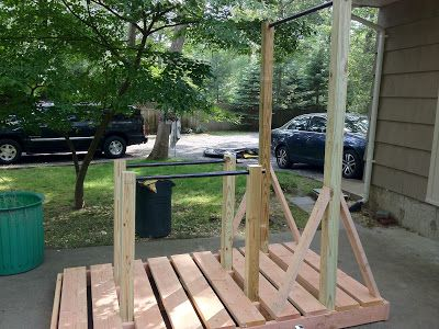 Pull up system made out of wood and galvanized pipe for Homemade pull up bar galvanized pipe