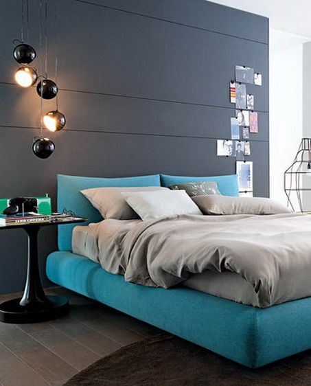Dark Grey Wall Color Scheme And Blue Bedding Sets In Small