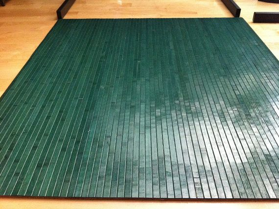 Forest Green Bamboo Chair Mat Office Floor By