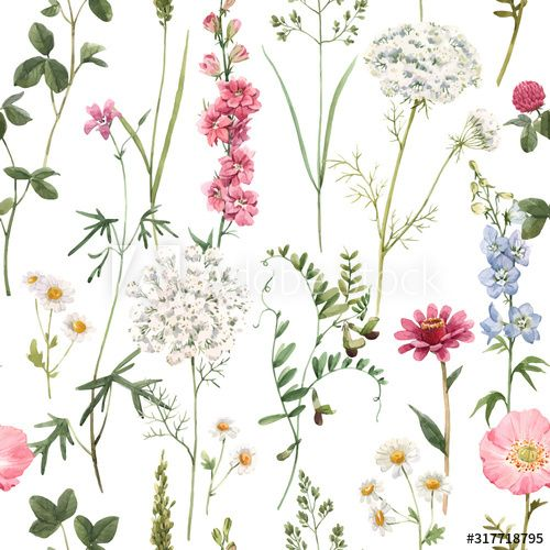 Beautiful vector floral summer seamless pattern with watercolor hand drawn field wild flowers. Stock illustration. , #AD, #seamless, #pattern, #watercolor, #summer, #Beautiful #Ad