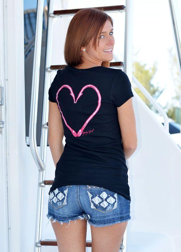 Heart hook fishing shirt super cute hunting clothing for Fishing shirts for women
