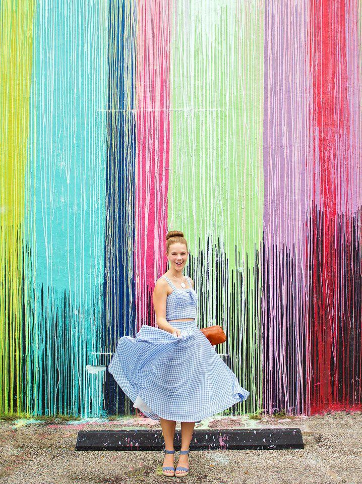 2e8ff4c3394 Blogger Bella Bucchiotti of xoxoBella is wearing a Chicwish blue gingham  skirt…