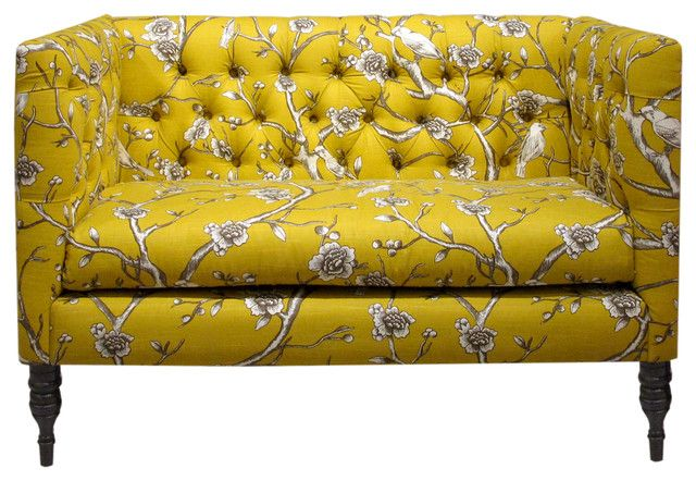 Furniture Vintage Yellow Floral Print Fabric Tufted Loveseat Consider The Quality For Your Lovely Loveseat Love Seat Printed Sofa Tufted Loveseat
