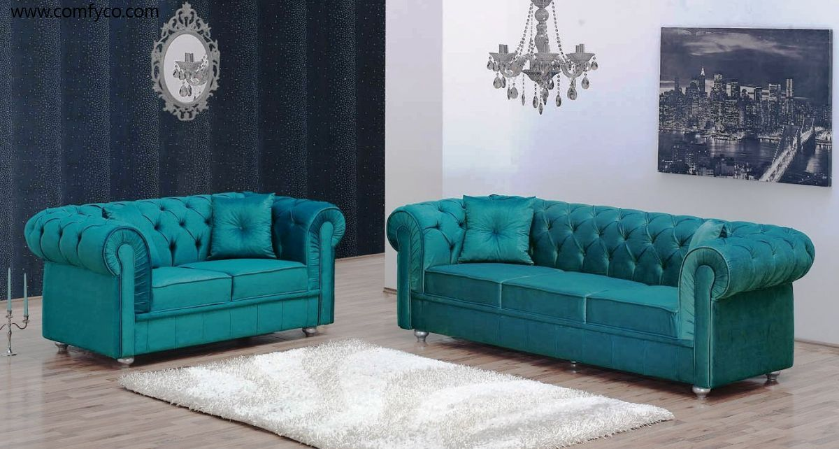 Modern Fabric And Microfiber Sofas Sofa Sets Chesterfield Velvet Turquise Turquoise Sofa Sofa Set Fabric Sofa
