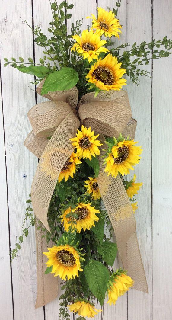 Charmant Sunflowers Swag, Sunflower Wreath, Front Door Wreath, Door Swag, Double Door  Wreaths, All Season Swag, Summer Wreath, Back Door Wreath, Spring Wreath,