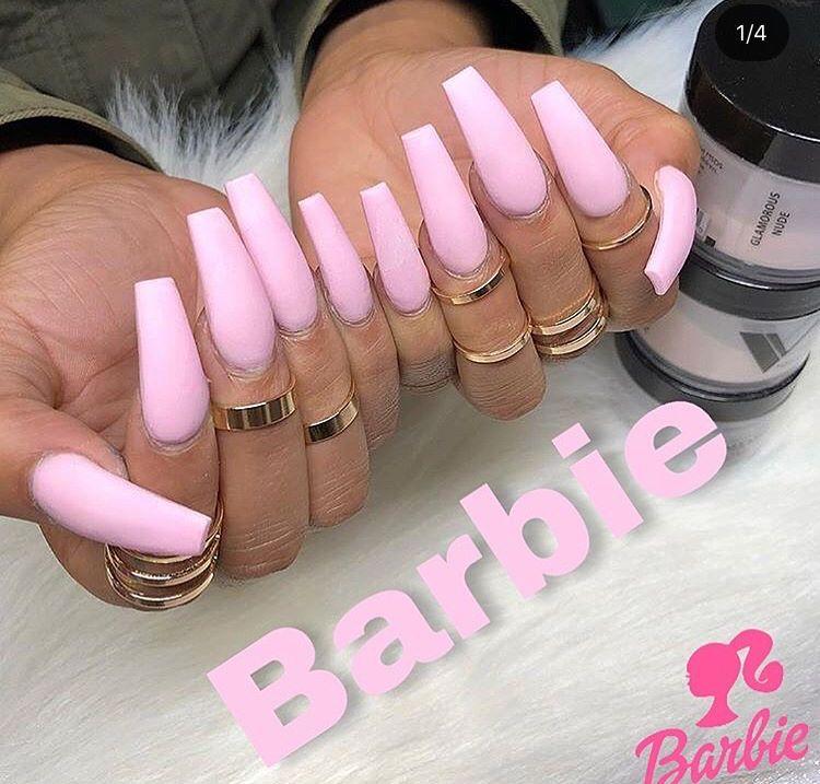 Bubble Gum Matte Pink Barbie Pink Nails Long Nails Pink Nails