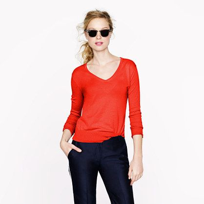 Featherweight cotton V-neck sweater | Jcrew | Pinterest | Cotton ...