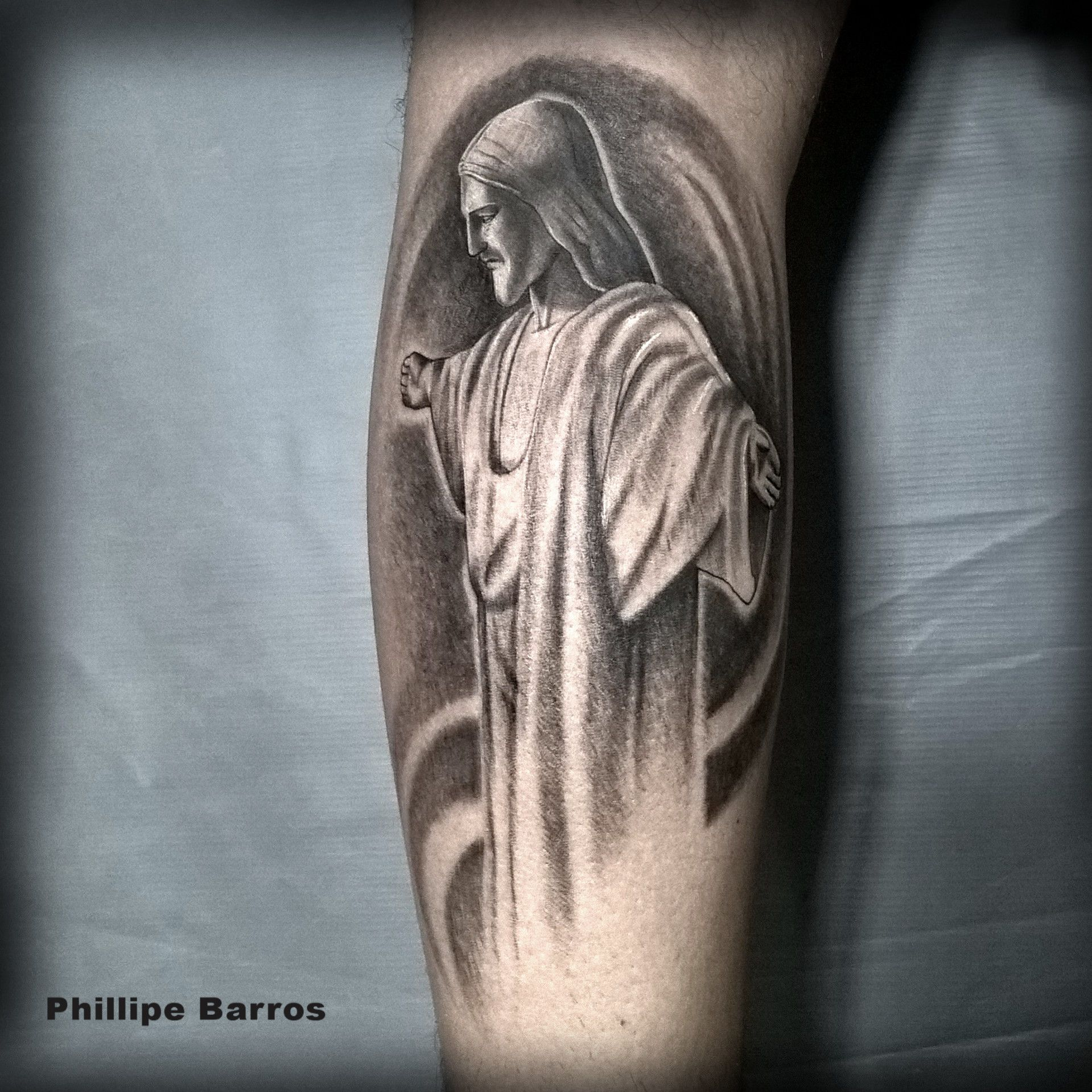 Cristo Redentor Por Phillipe Barros Preto E Cinza Black And Gray