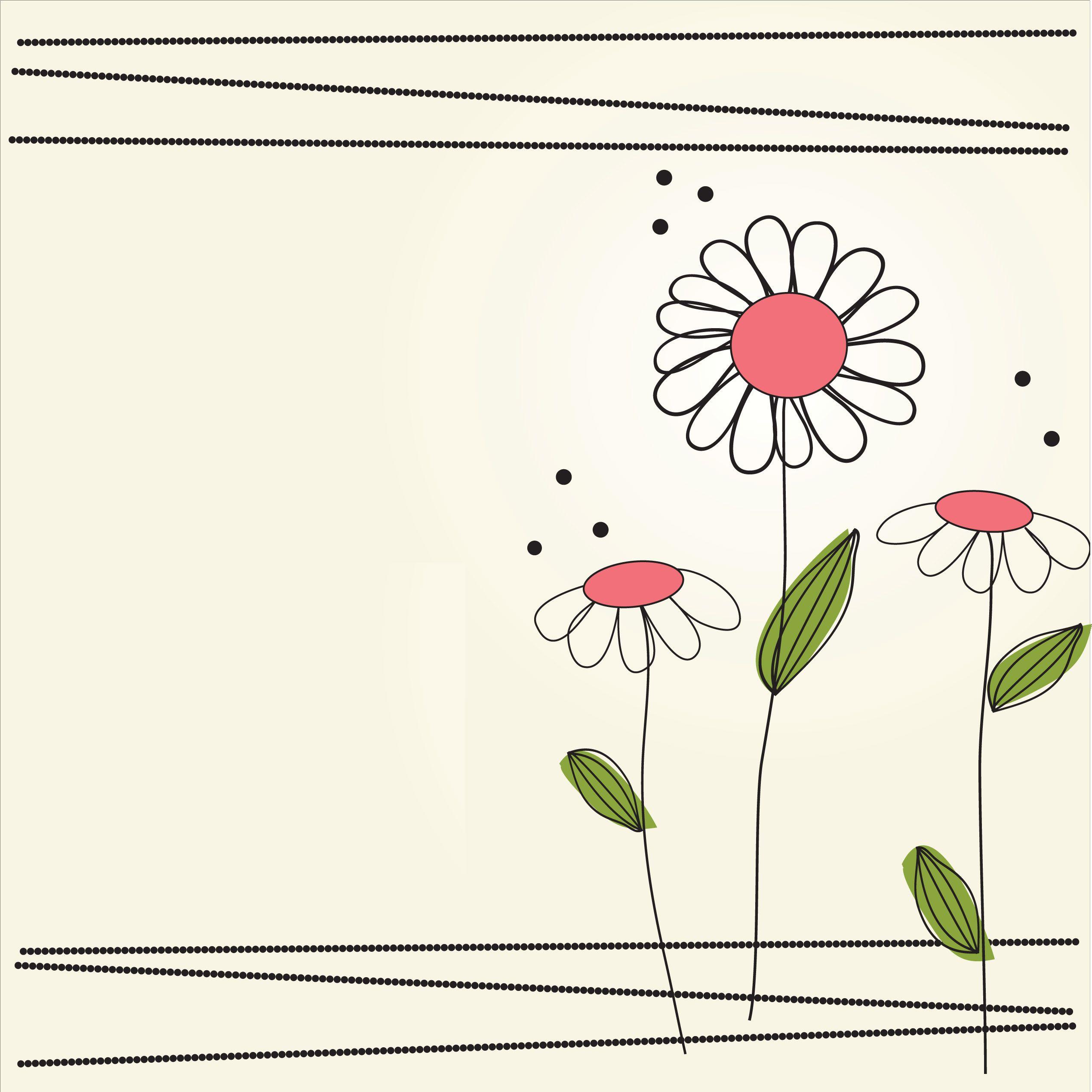 花のイラスト・フリー素材/壁紙・背景no.152『シンプル・ポップ・赤緑