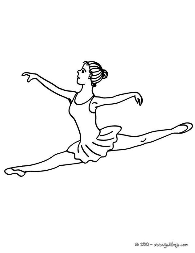 Dibujo para colorear una bailarina haciendo un grand jete en la ...