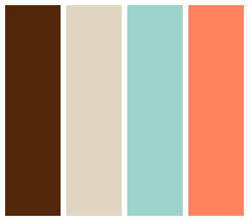 Chocolate Beige Seafoam And Salmon Color Palette Woman Cave Lady