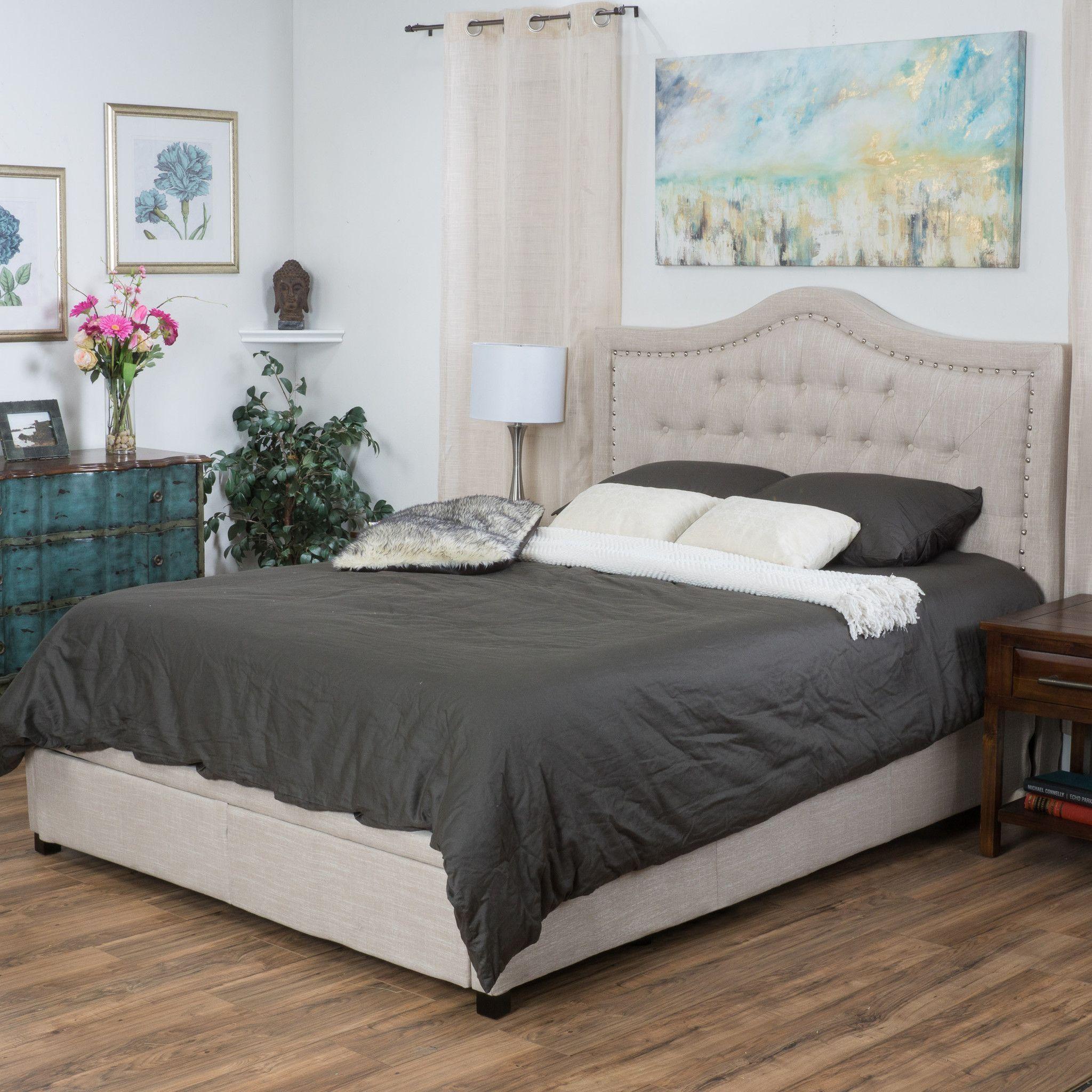 geragrand fully upholstered light beige fabric king size bed with drawers - Diy Kingsizekopfteil Plne