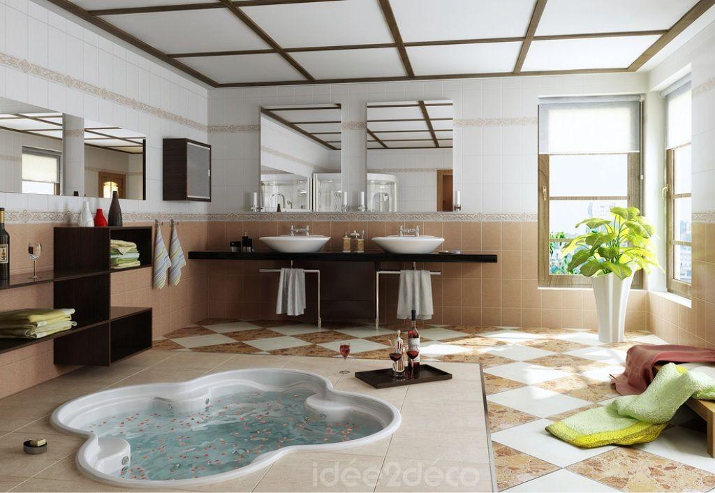 Une salle de bain moderne avec spa