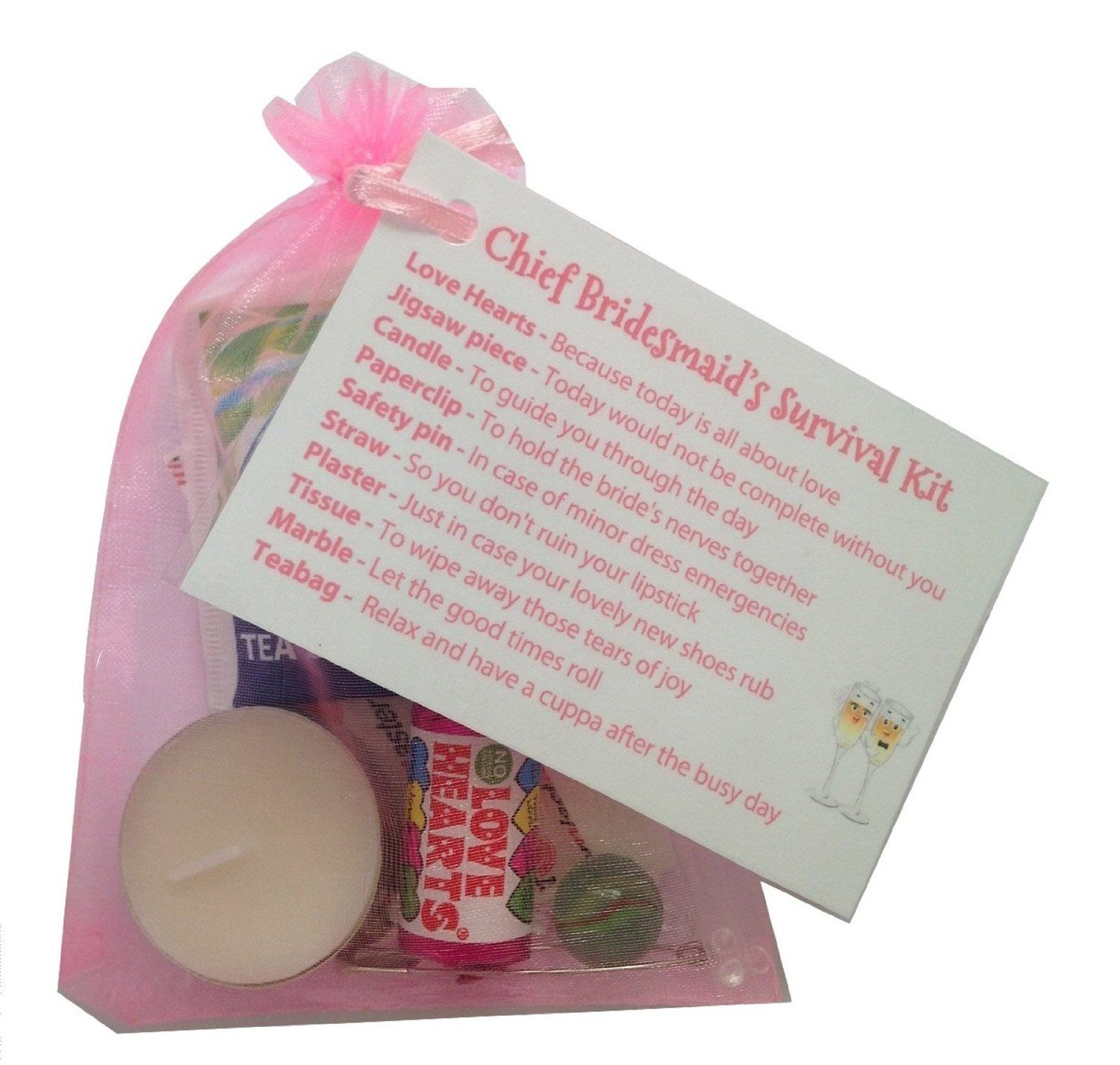 Chief Bridesmaid Survival Kit In Pink Thank You Gift Card Keepsake