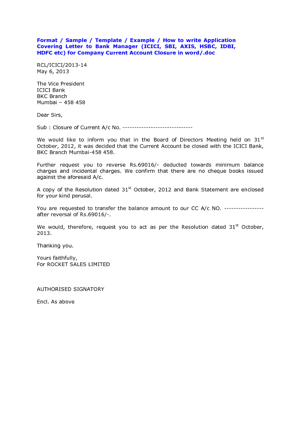Bank Account Closing Letter Format Sample Cover Templates