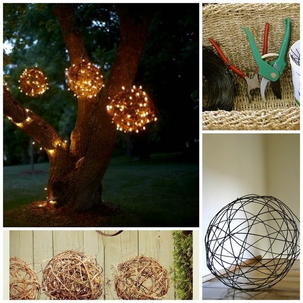 DIY Grapevine Lights - make balls from grapevines (or wires if you don't live on a farm) and wrap icicle lights around them to create glimmering orbs.