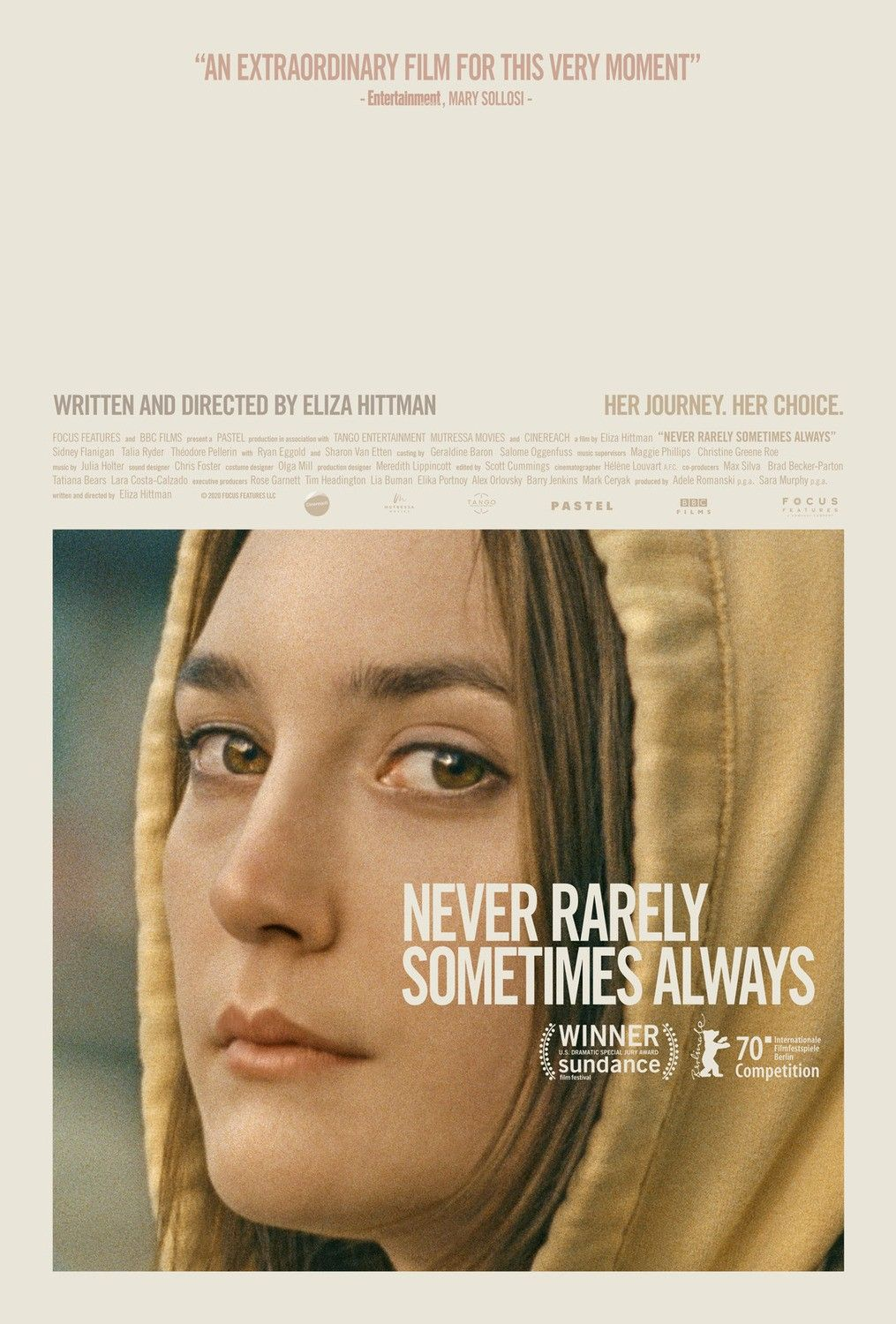 The Poster For The Drama Film Never Rarely Sometimes Always