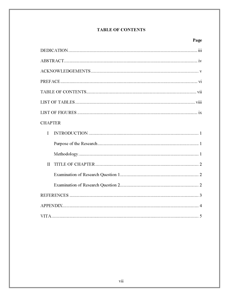 Contents Page Apa Phd Creative Writing Word Template Contents Page Word